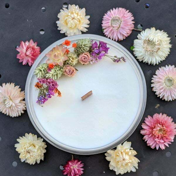 Bougie parfumée, bergamote, mandarine, basilic, en verre et fleurs séchées, naturelle artisanale, Anastasia 2