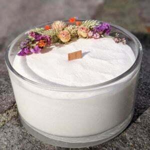 Bougie parfumée, bergamote, mandarine, basilic, en verre et fleurs séchées, naturelle artisanale, Anastasia