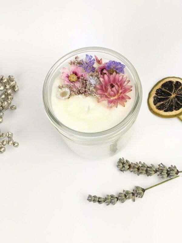 Bougie parfumée poudre de riz & lavande à la cire de soja et fleurs séchées, naturelle artisanale, Gloria 3