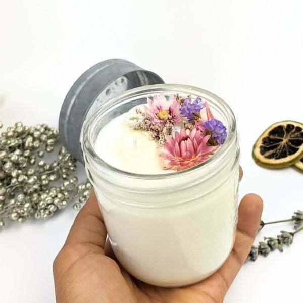 Bougie parfumée poudre de riz & lavande à la cire de soja et fleurs séchées, naturelle artisanale, Gloria 2