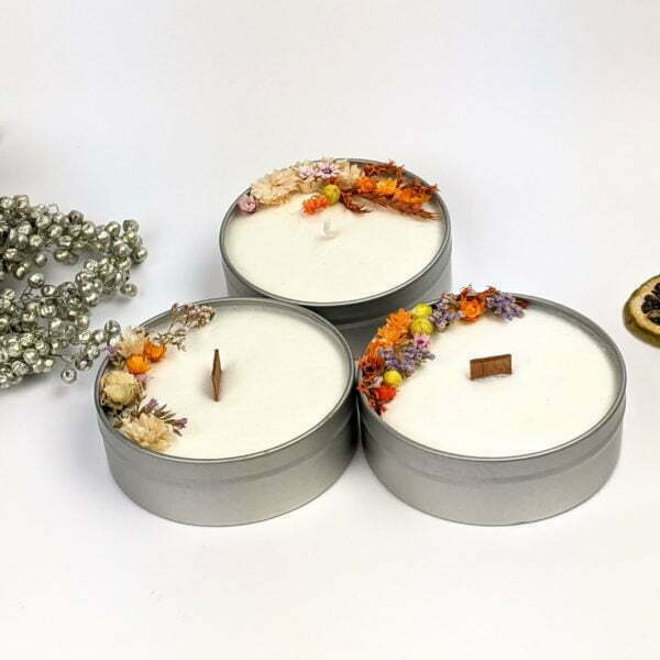 Bougie parfumée bergamote, mandarine, basilic, à la cire de soja et fleurs séchées, naturelle artisanale, Vera 2