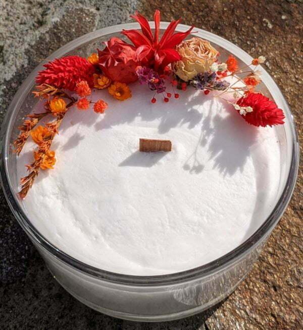 Bougie parfumée bergamote, mandarine, basilic, en verre et fleurs séchées, naturelle artisanale, Yuriko