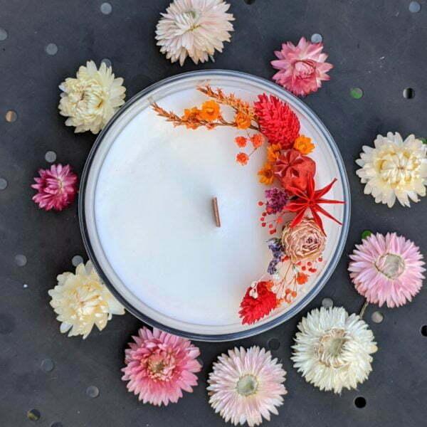Bougie parfumée bergamote, mandarine, basilic, en verre et fleurs séchées, naturelle artisanale, Yuriko 2