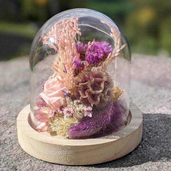 Cloche en verre et fleurs séchées pour décoration d'intérieur, Pink Purple 2