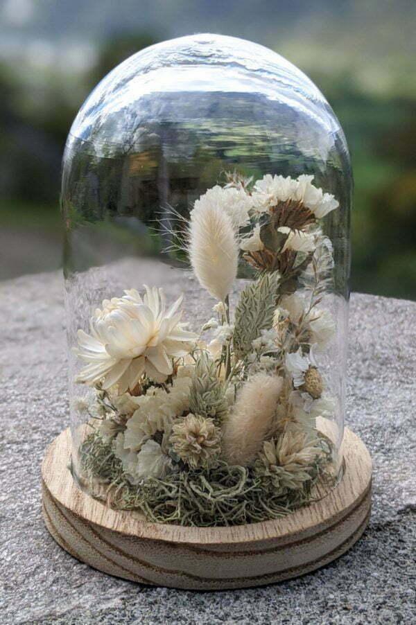 Cloche en verre et fleurs séchées pour décoration d'intérieur, Véga 3
