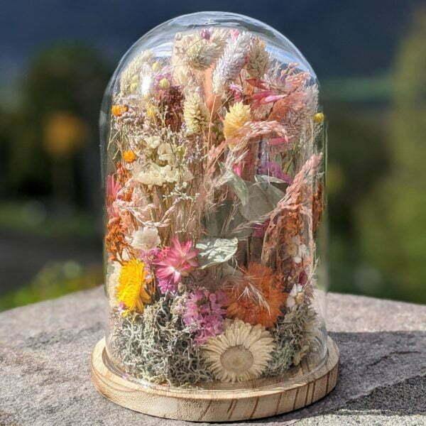 Cloche de fleurs séchées, décoration d'intérieur tendance, Yara
