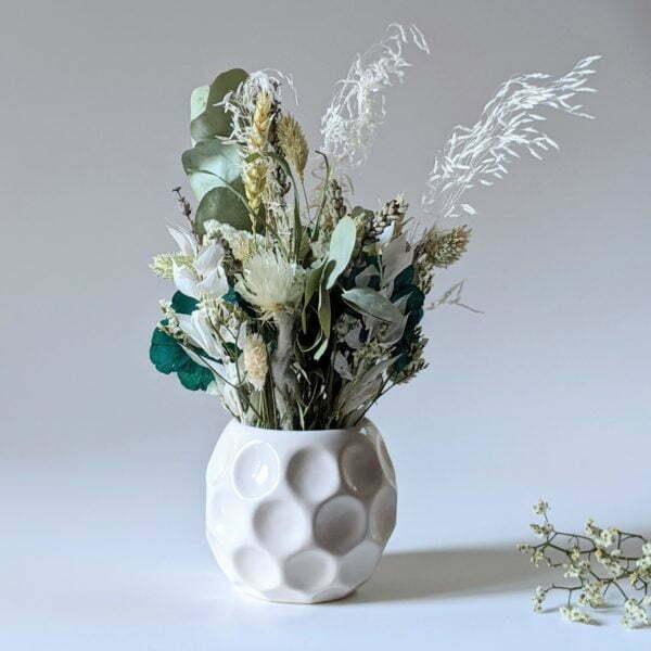 Composition de fleurs stabilisées et fleurs séchées pot en céramique, Agapé 2