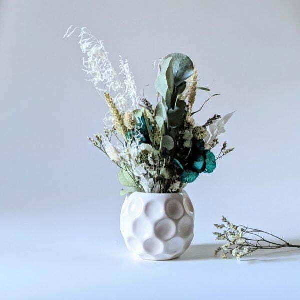 Composition de fleurs stabilisées et fleurs séchées pot en céramique, Agapé