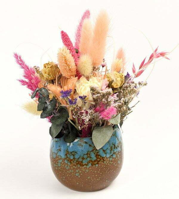 Composition de fleurs séchées & préservées unique dans un pot en céramique, Bloom