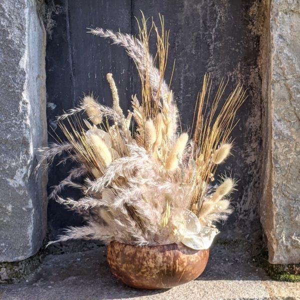 Composition de fleurs séchées & coque de noix de coco naturelle, Grain de Sel 2