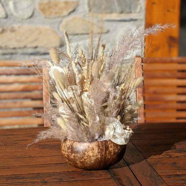 Composition de fleurs séchées & coque de noix de coco naturelle, Grain de Sel 3