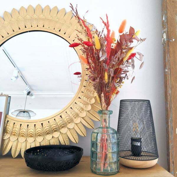 Bouquet de fleurs séchées aux couleurs automnales & vase en verre recyclé, Aurore