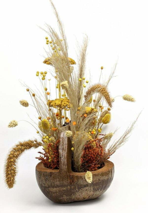 Composition de fleurs séchées dans une magnifique noix de coco naturelle pour décoration d'intérieur, Terracotta 4