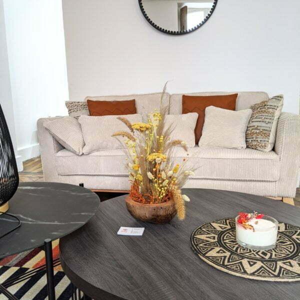 Composition de fleurs séchées dans une magnifique noix de coco naturelle pour décoration d'intérieur, Terracotta 3