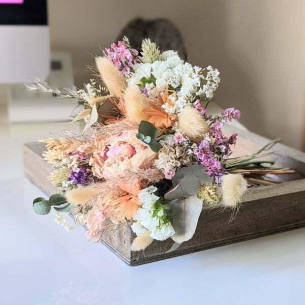 Mini bouquet de fleurs séchées & fleurs stabilisées dans les tons pastel, Gallia 2