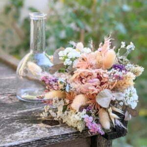 Mini bouquet de fleurs séchées & fleurs stabilisées dans les tons pastel, Gallia