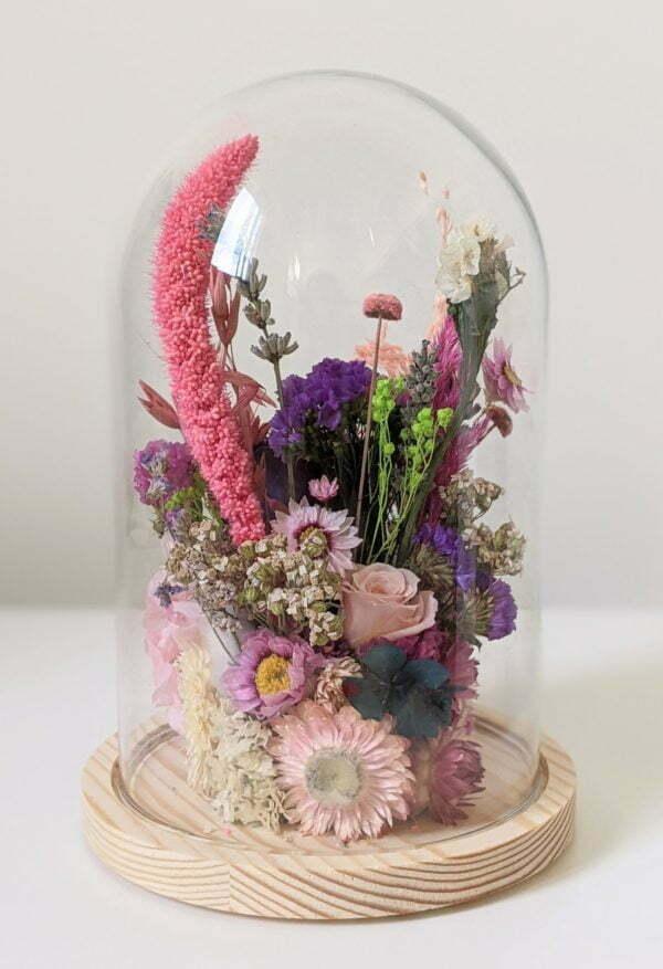 Cloche en verre avec fleurs éternelles et fleurs séchées pour décoration d'intérieur, Édith 2