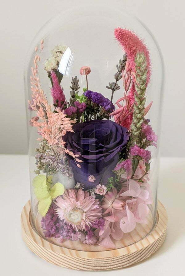 Cloche en verre avec fleurs éternelles et fleurs séchées pour décoration d'intérieur, Édith