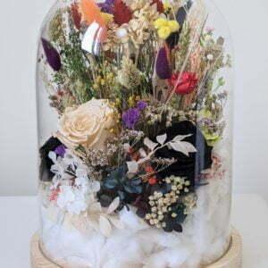 Cloche en verre avec fleurs séchées et préservées pour décoration d'intérieur, Flora 2.0