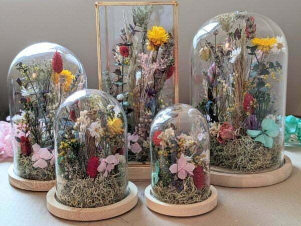 Cloches en verres & fleurs séchées et préservées pour décoration d'intérieur ensoleillée, Paula