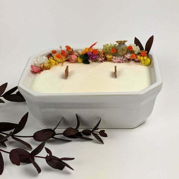 Bougie parfumée, bergamote, mandarine, basilic, en céramique et fleurs séchées, naturelle artisanale, Palma 2