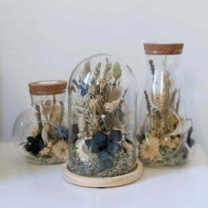 Cloche en verre, fleurs stabilisées & fleurs séchées pour décoration d'intérieur, Joy