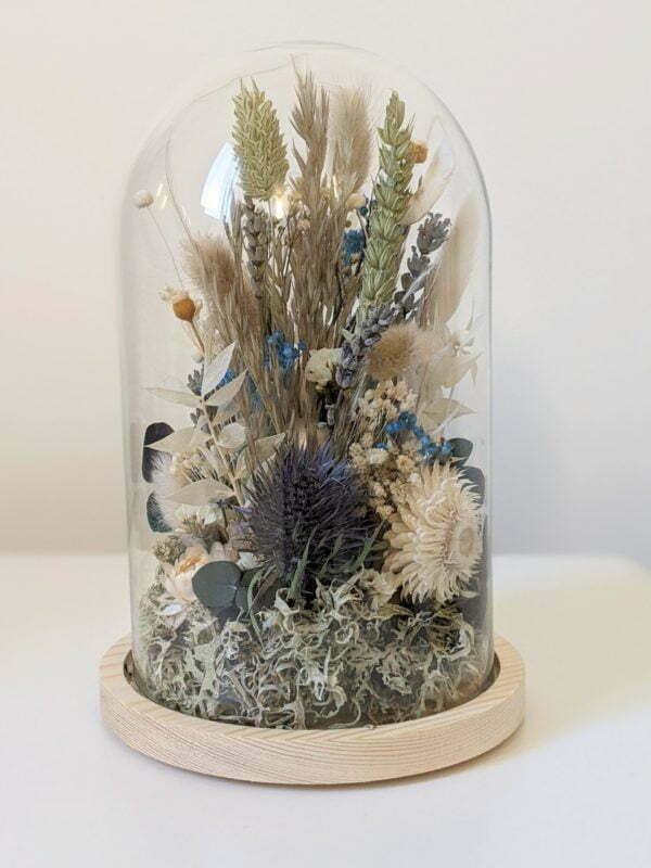 Cloche en verre, fleurs stabilisées & fleurs séchées pour décoration d'intérieur, Joy 2