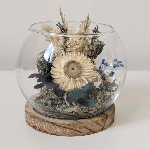 Cloche en verre, fleurs stabilisées & fleurs séchées pour décoration d'intérieur, Joy 5