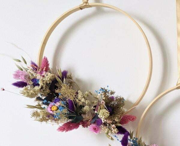 Couronne de fleurs stabilisées & fleurs séchées, Charme 3