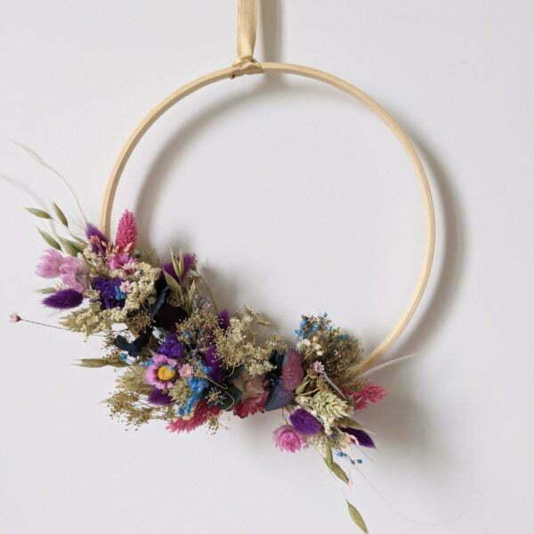 Couronne de fleurs stabilisées & fleurs séchées, Charme 2