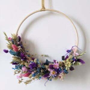 Couronne de fleurs stabilisées & fleurs séchées, Charme