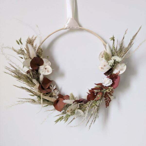 Couronne de fleurs séchées & fleurs stabilisées, Jade 3