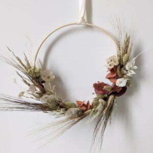 Couronne de fleurs séchées & fleurs stabilisées, Jade