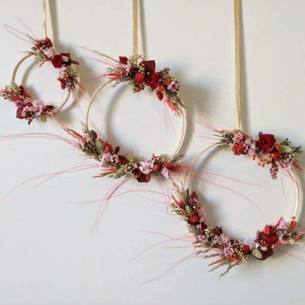 Couronne murale de fleurs éternelles & fleurs séchées, Valentine 2