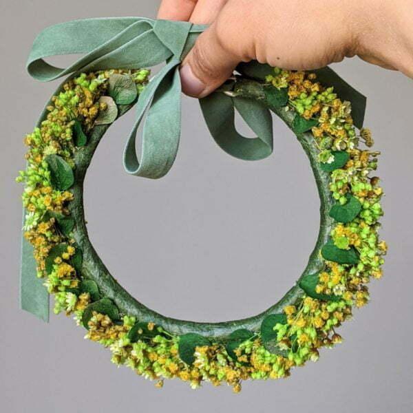 Couronne de cheveux de fleurs séchées & fleurs stabilisées, Aline 4