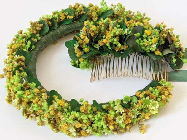 Peigne à cheveux fleuri pour coiffure de mariage en fleurs séchées & fleurs stabilisées, Aline 4