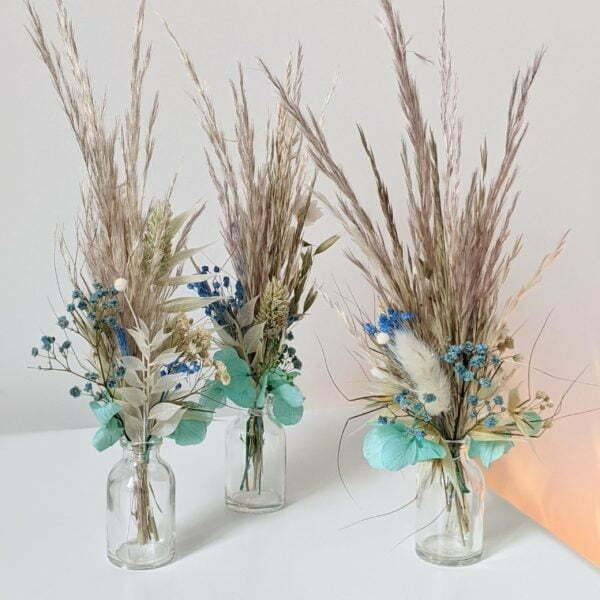 Trio de mini bouquets de fleurs séchées & fleurs stabilisées, Percé 3