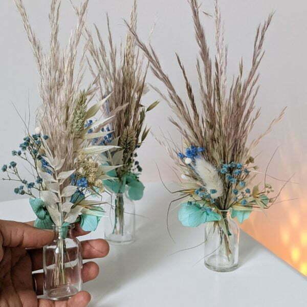 Trio de mini bouquets de fleurs séchées & fleurs stabilisées, Percé 2