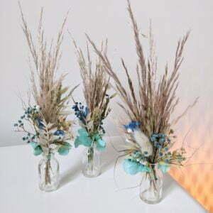 Trio de mini bouquets de fleurs séchées & fleurs stabilisées, Percé