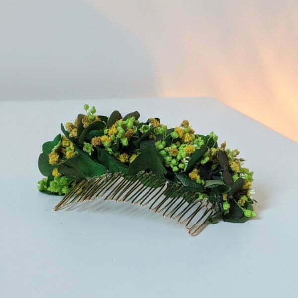 Peigne à cheveux fleuri pour coiffure de mariage en fleurs séchées & fleurs stabilisées, Aline
