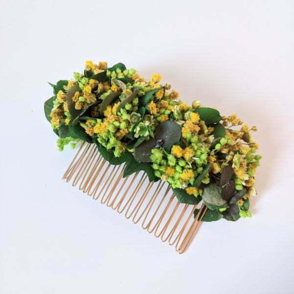 Peigne à cheveux fleuri pour coiffure de mariage en fleurs séchées & fleurs stabilisées, Aline 3
