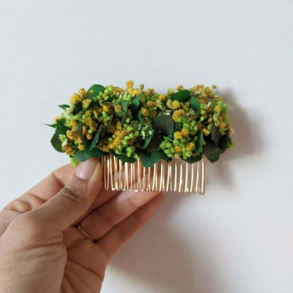 Peigne à cheveux fleuri pour coiffure de mariage en fleurs séchées & fleurs stabilisées, Aline 2