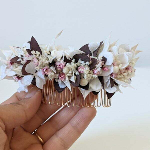 Peigne en métal doré, fleurs séchées, fleurs stabiliséees, Aphrodite 2