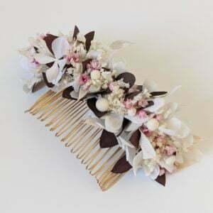 Peigne à cheveux fleuri pour coiffure de mariage en fleurs séchées & fleurs stabilisées, Aphrodite