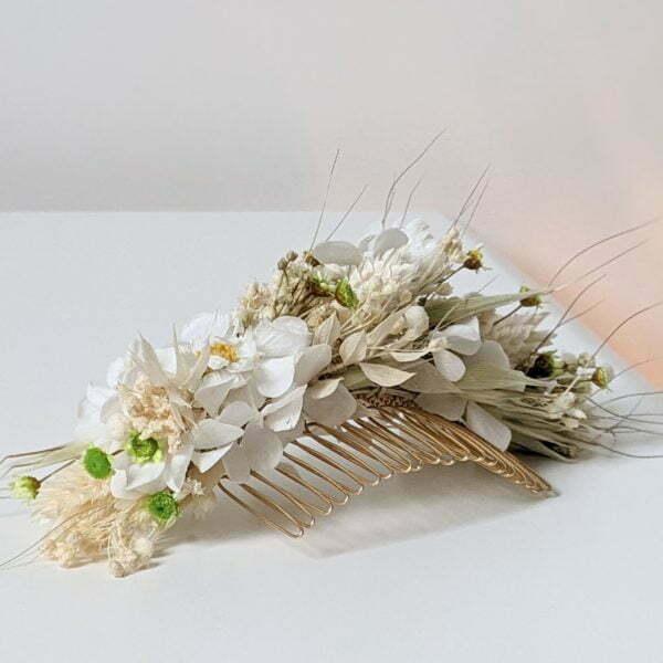 Peigne à cheveux fleuri pour coiffure de mariage en fleurs séchées & fleurs stabilisées, Marmara 2