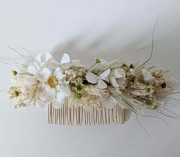 Peigne à cheveux fleuri pour coiffure de mariage en fleurs séchées & fleurs stabilisées, Marmara 3