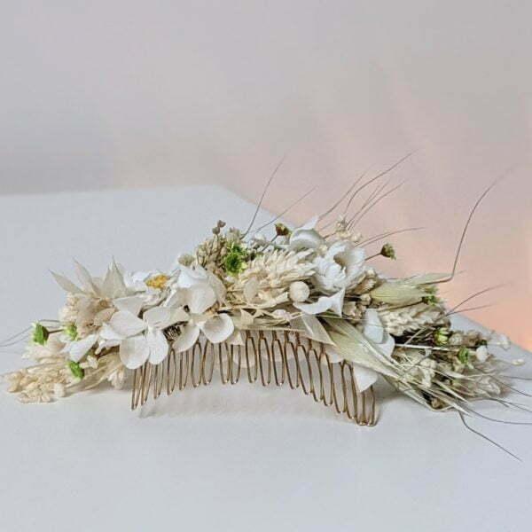 Peigne à cheveux fleuri pour coiffure de mariage en fleurs séchées & fleurs stabilisées, Marmara