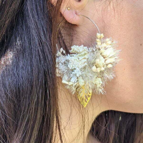 Boucles d'oreilles créoles en fleurs stabilisées, Katy 6