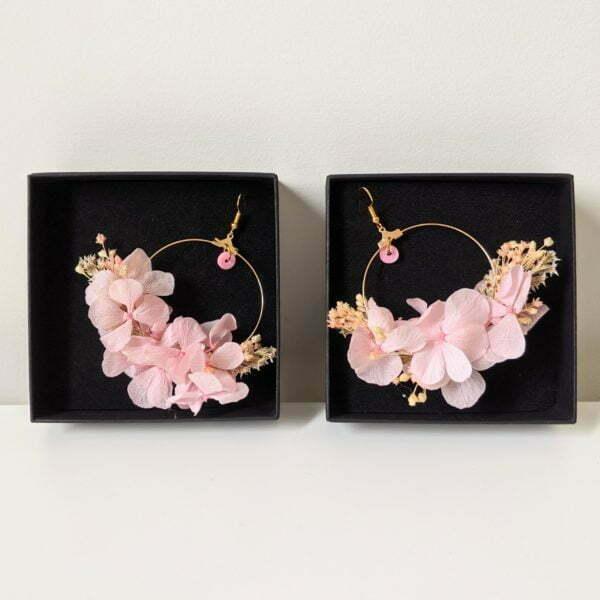 Boucles d'oreilles créoles en fleurs stabilisées, Katy 2