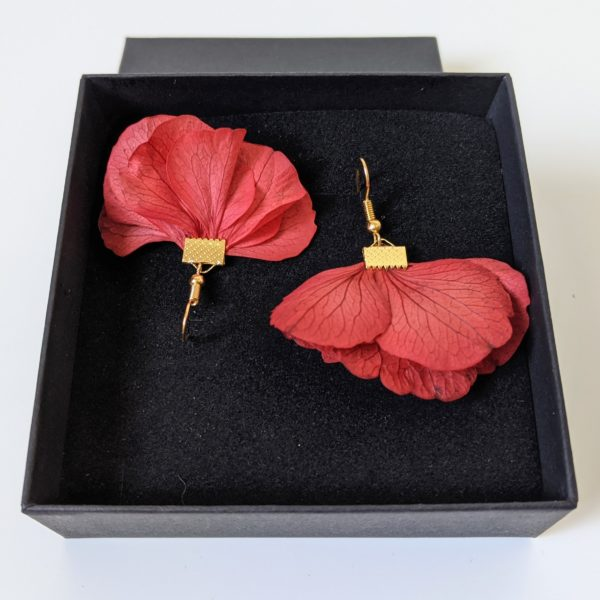 Boucles d'oreilles créoles en fleurs stabilisées, Katy 8